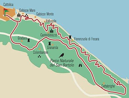 Cartina - Parco Naturale San Bartolo - Strada Panoramica da  Gabicce a Pesaro