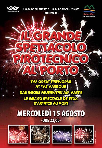 Ferragosto 2012 a Gabicce - grande spettacolo pirotecnico al porto
